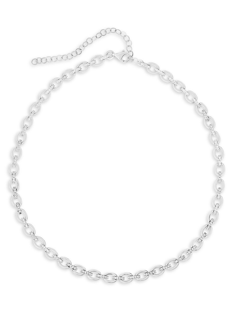 Women's Rhodium-Plated Sterling Silver & Crystal Link Necklace