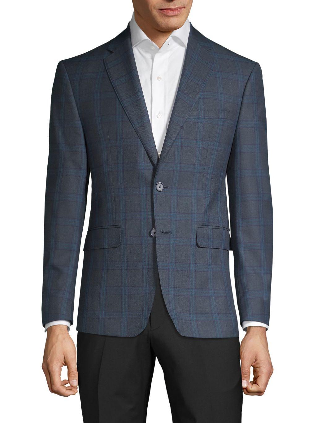 Calvin Klein Slim-FIt Plaid Sportcoat