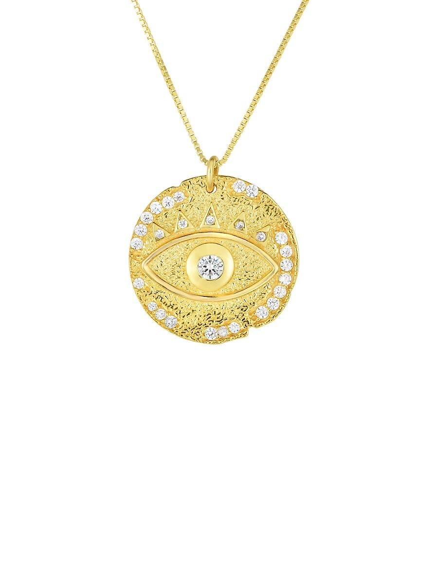 Women's 18K Goldplated sterling Silver & Crystal Evil Eye Pendant Necklace