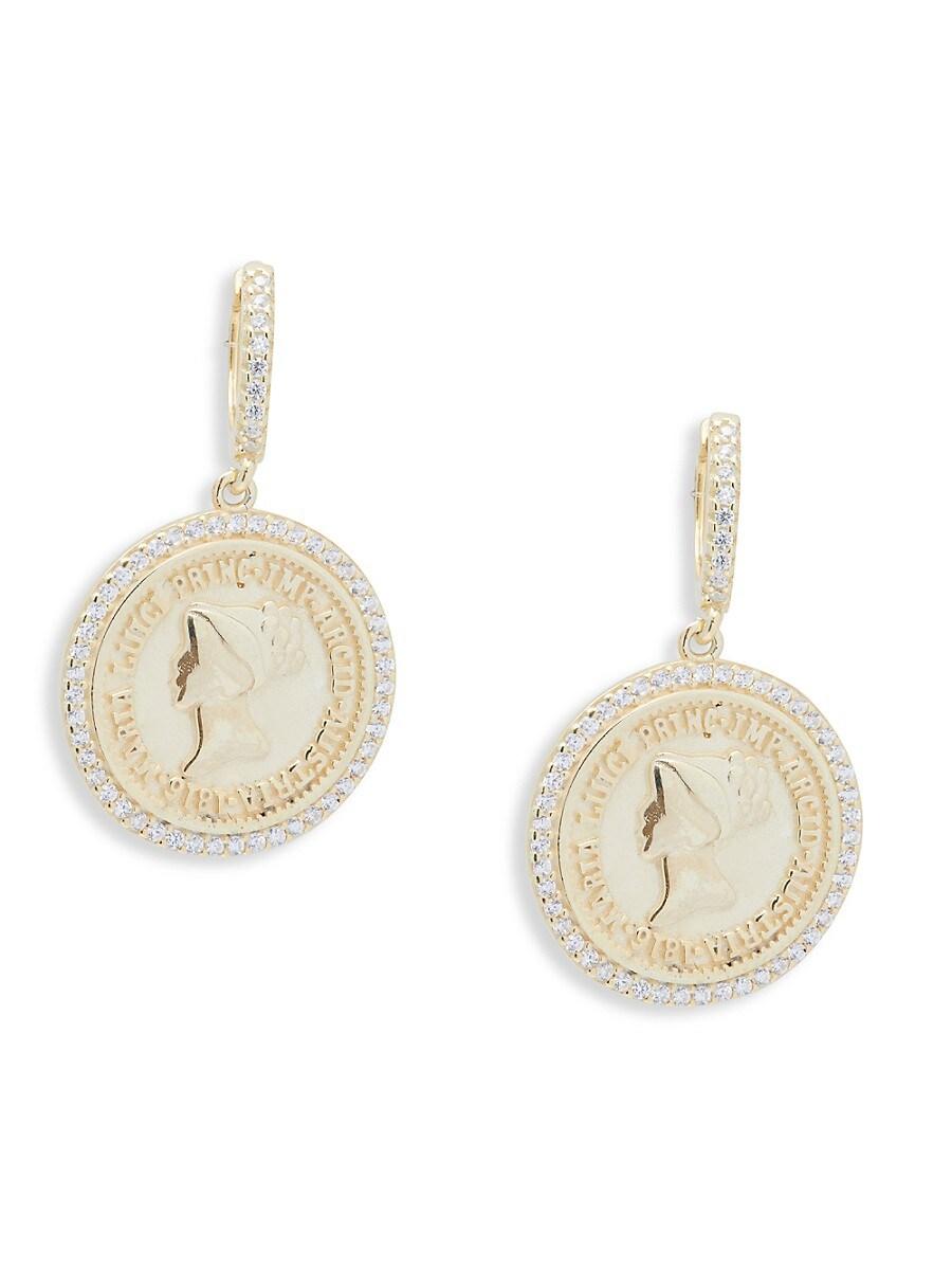 Women's 18K Yellow Goldplated & Rhodium-Plated Sterling Silver Huggie Earrings