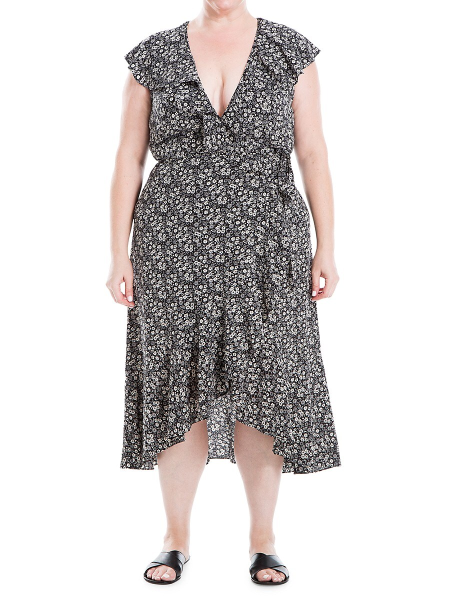 Women's Plus Printed Ruffle Wrap Dress