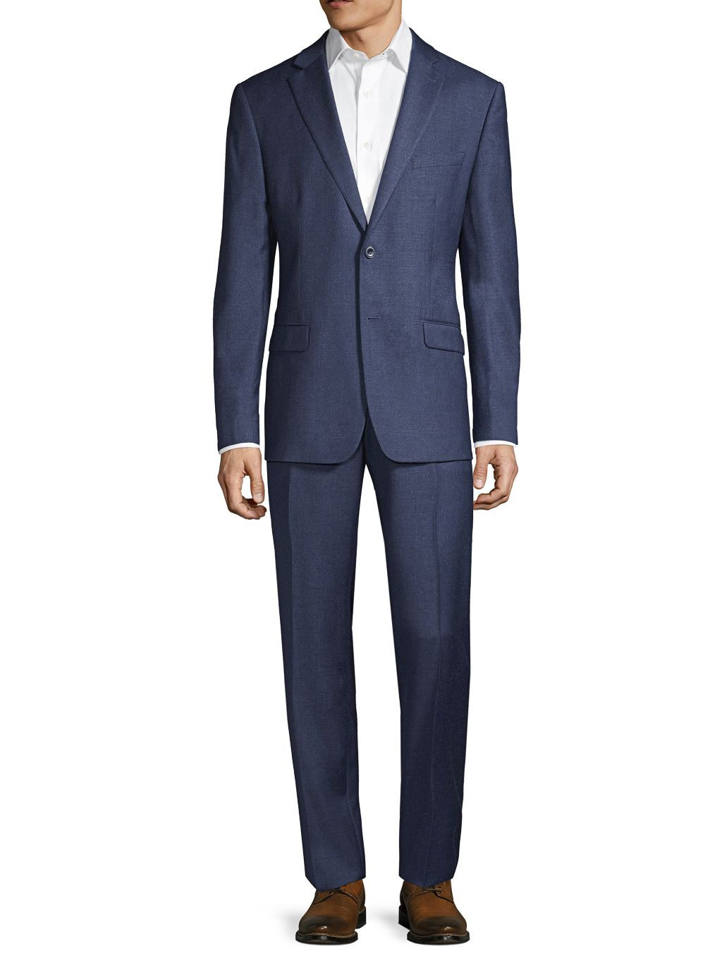 Michael Kors Collection Standard-Fit Textured Solid Wool-Blend Suit