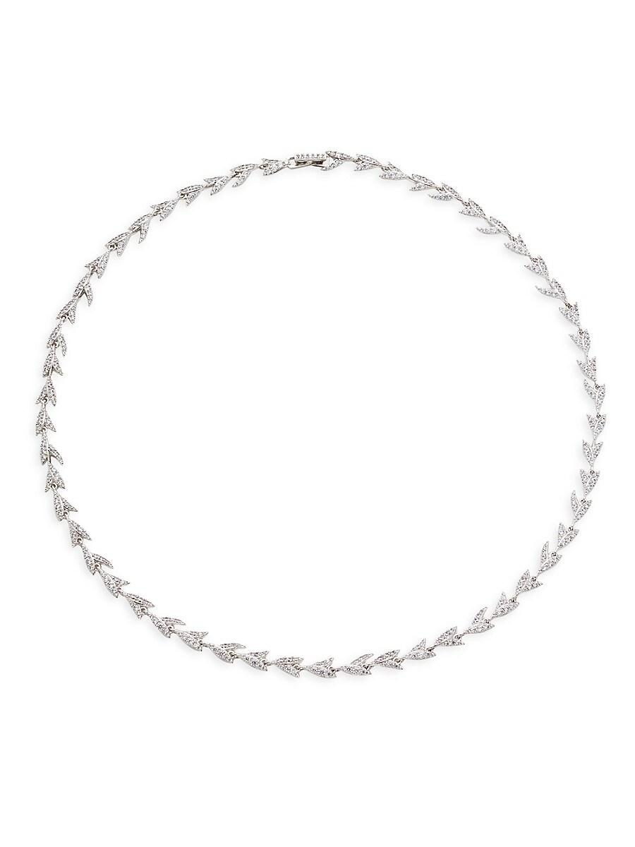 Women's Liv Leaf Rhodium-Plated & Crystal Collar Necklace