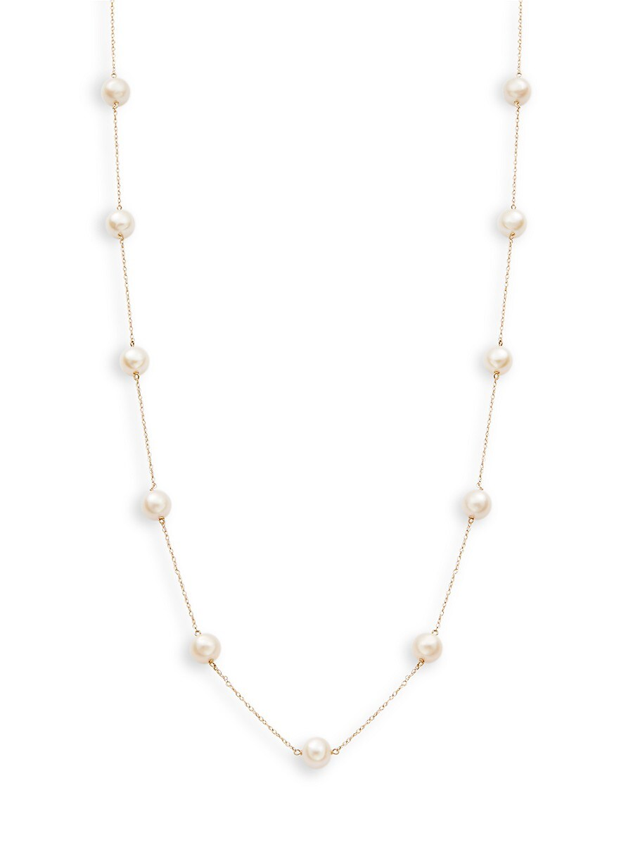 Women's 14K Yellow Gold 6-7MM Freshwater Pearl Station Necklace