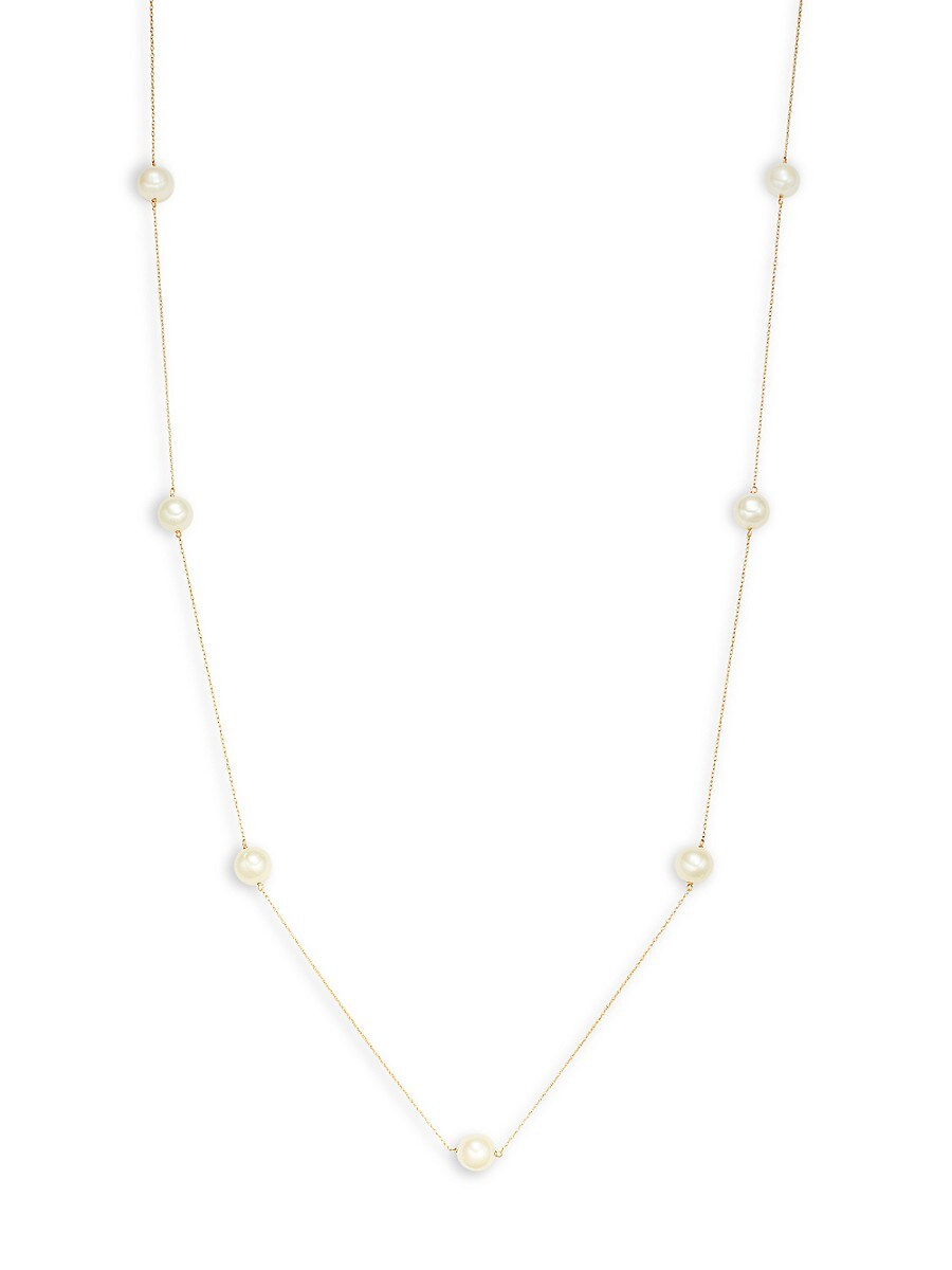 14K Yellow Gold & 9-10MM Round Freshwater Pearl Necklace