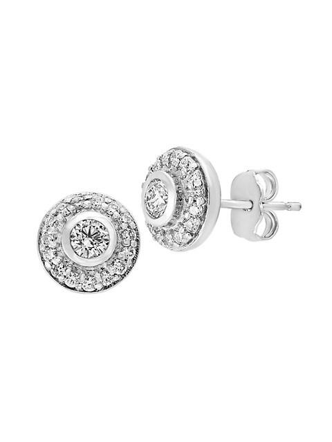 Effy 14K White Gold & Diamond Stud Earrings