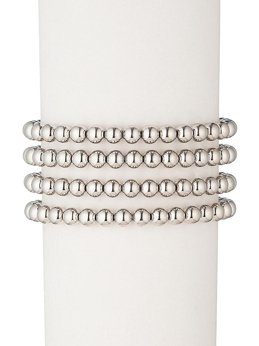 Women's Sophia 18K White Goldplated Bead Bracelet