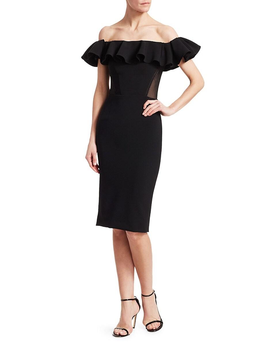 Women's Off-The-Shoulder Ruffle Sheath Dress