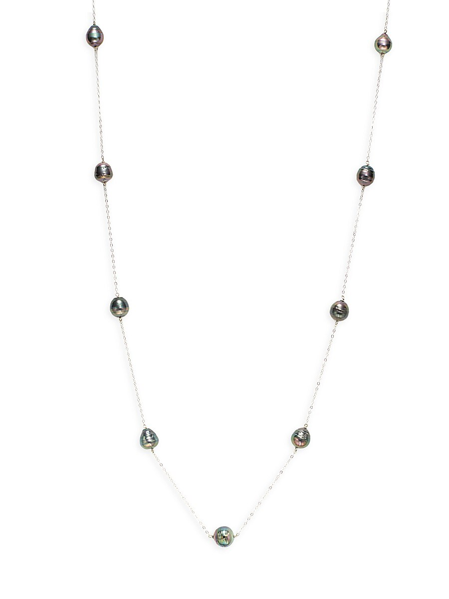 Women's 14K White Gold 10-11MM Baroque Tahitian Pearl Station Necklace
