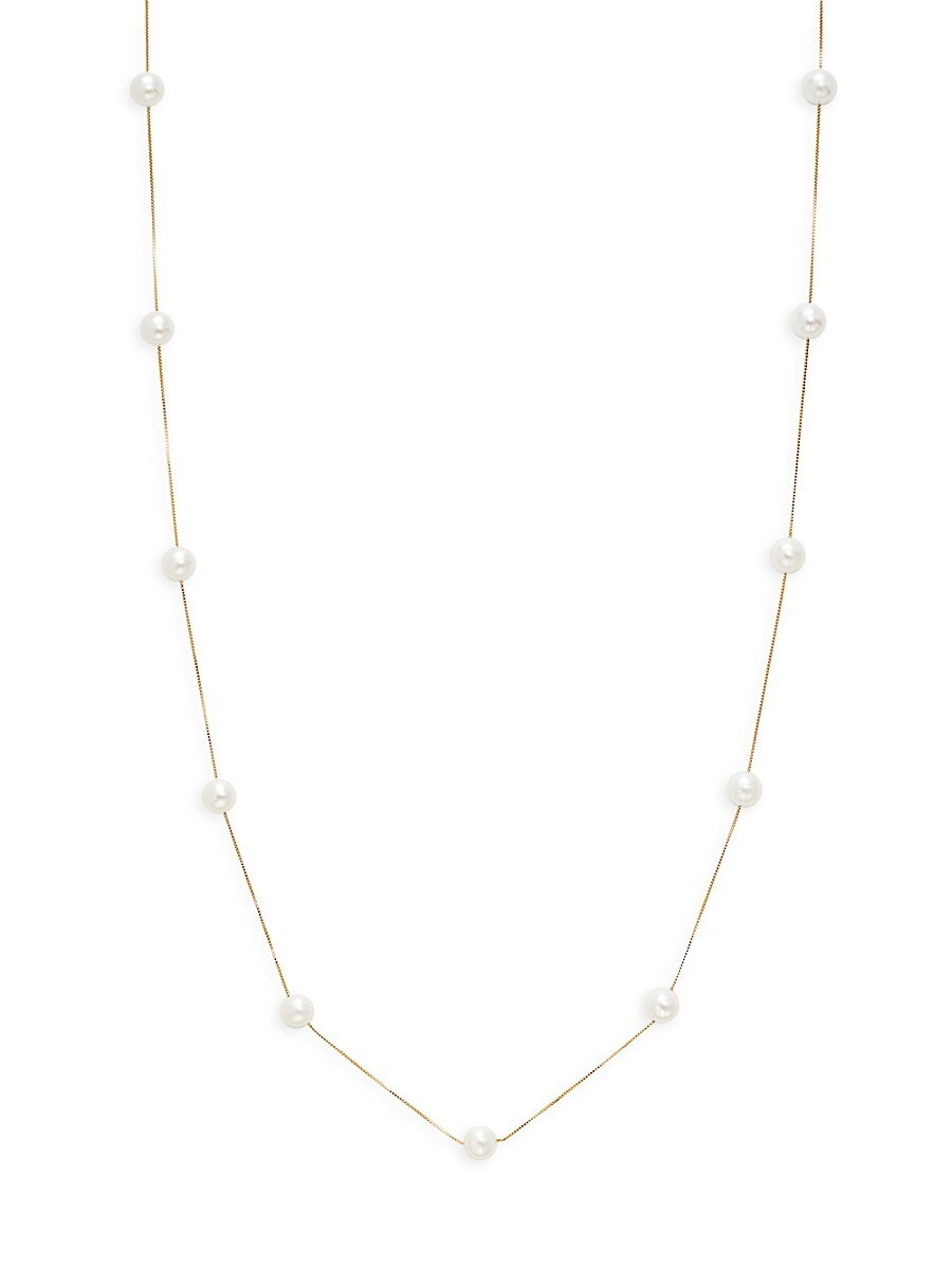 Women's 14K Yellow Gold 7-8MM Freshwater Pearl Station Necklace