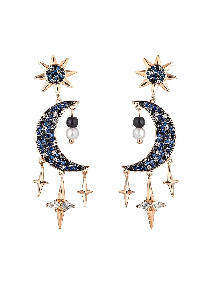 Women's Night Moon Cubic Zirconia Drop Earrings
