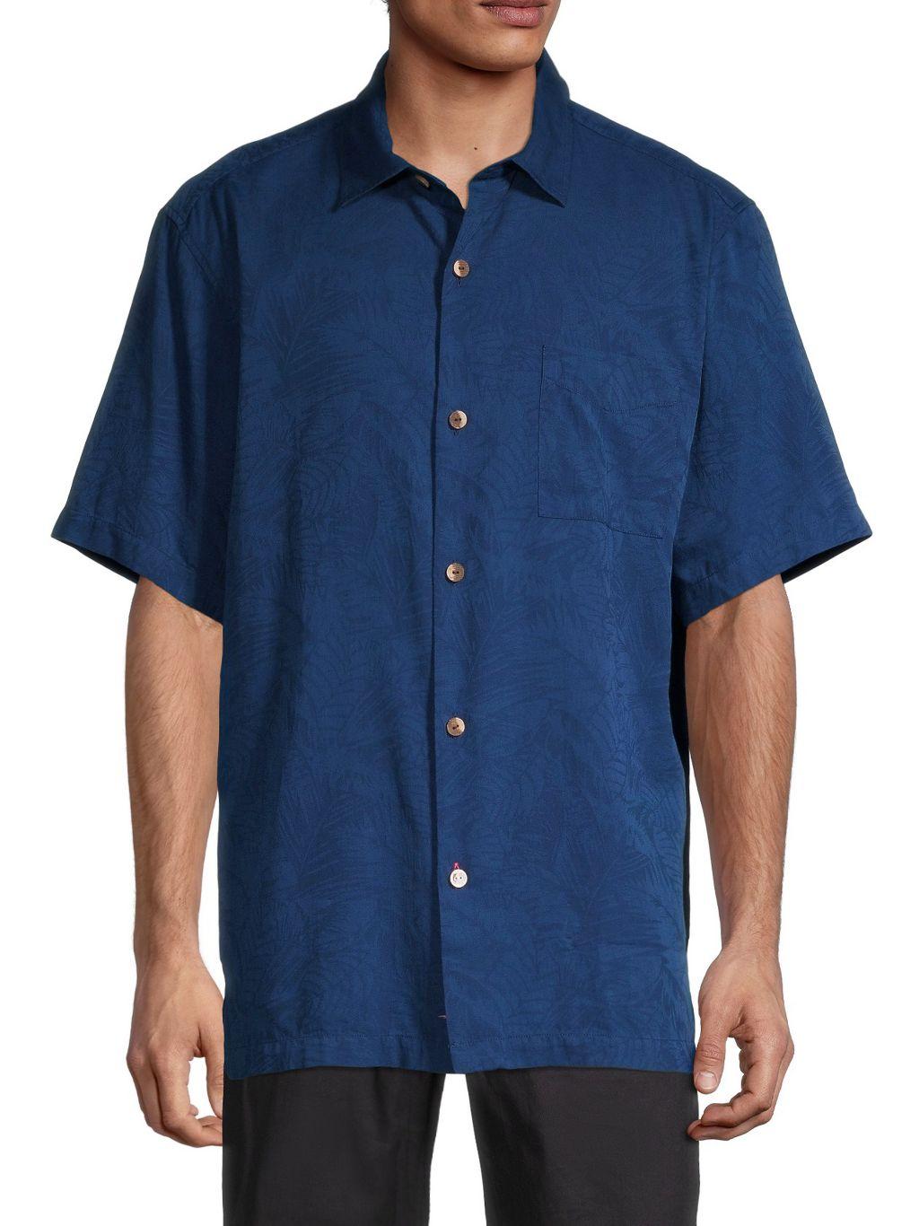 Tommy Bahama Camden Coast Jacquard Palm Leaf Linen-Blend Short-Sleeve Shirt