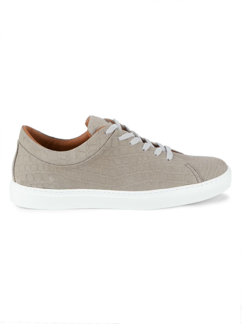 Aquatalia Alaric Crocodile-Embossed Leather Low-Top Sneakers