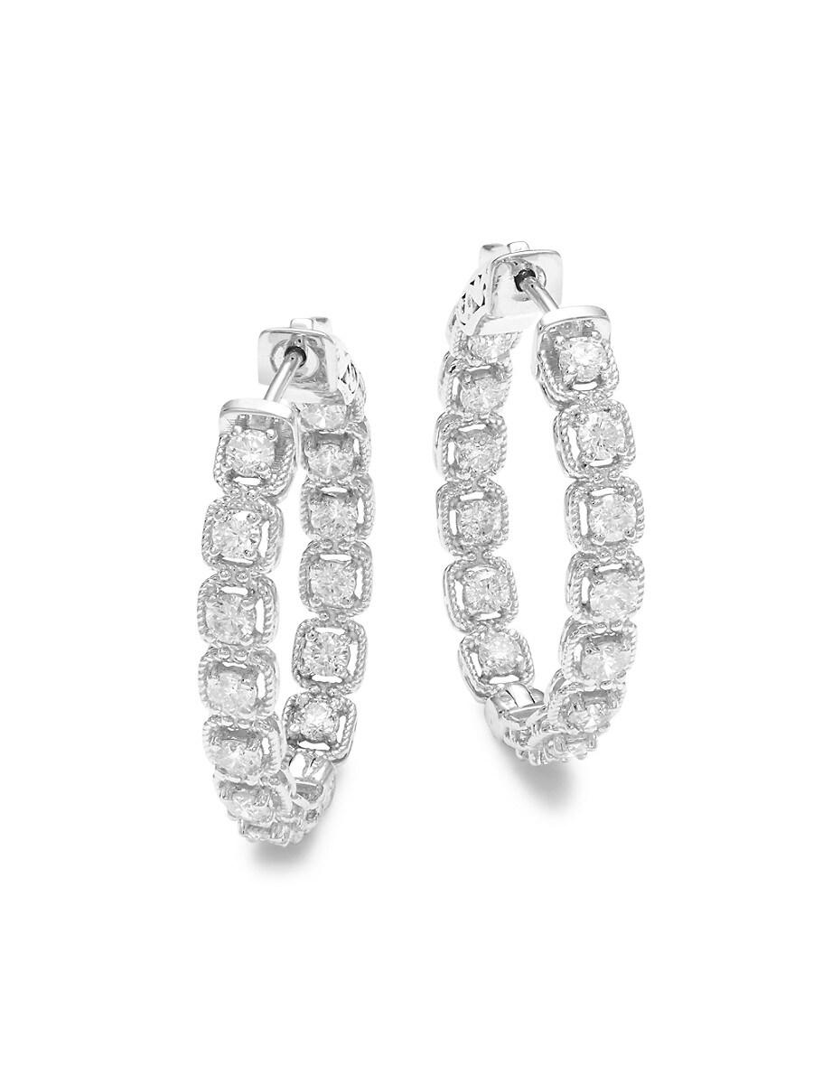 Women's 14K White Gold & 2.0 TCW Diamond Hoop Earrings