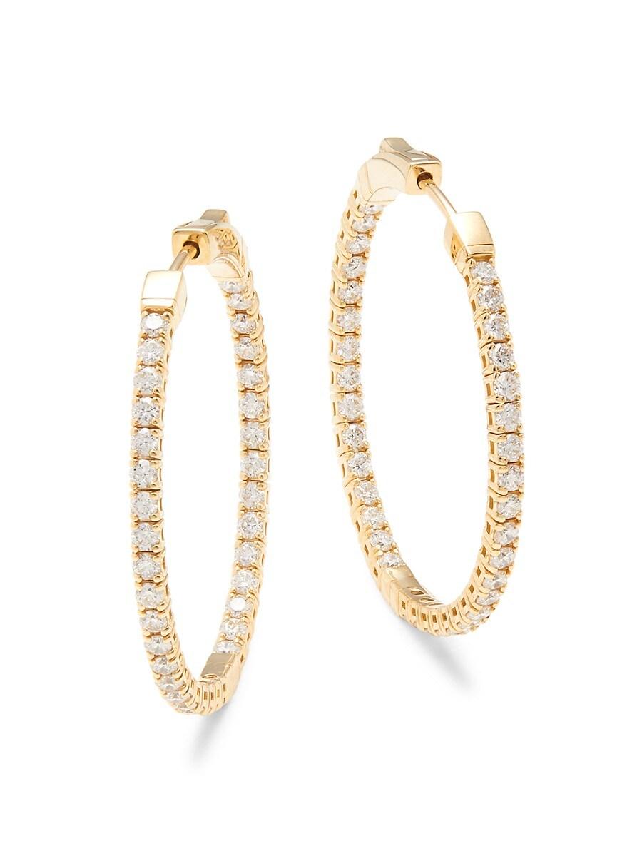 Women's 18K Yellow Gold & Diamond Hoop Earrings