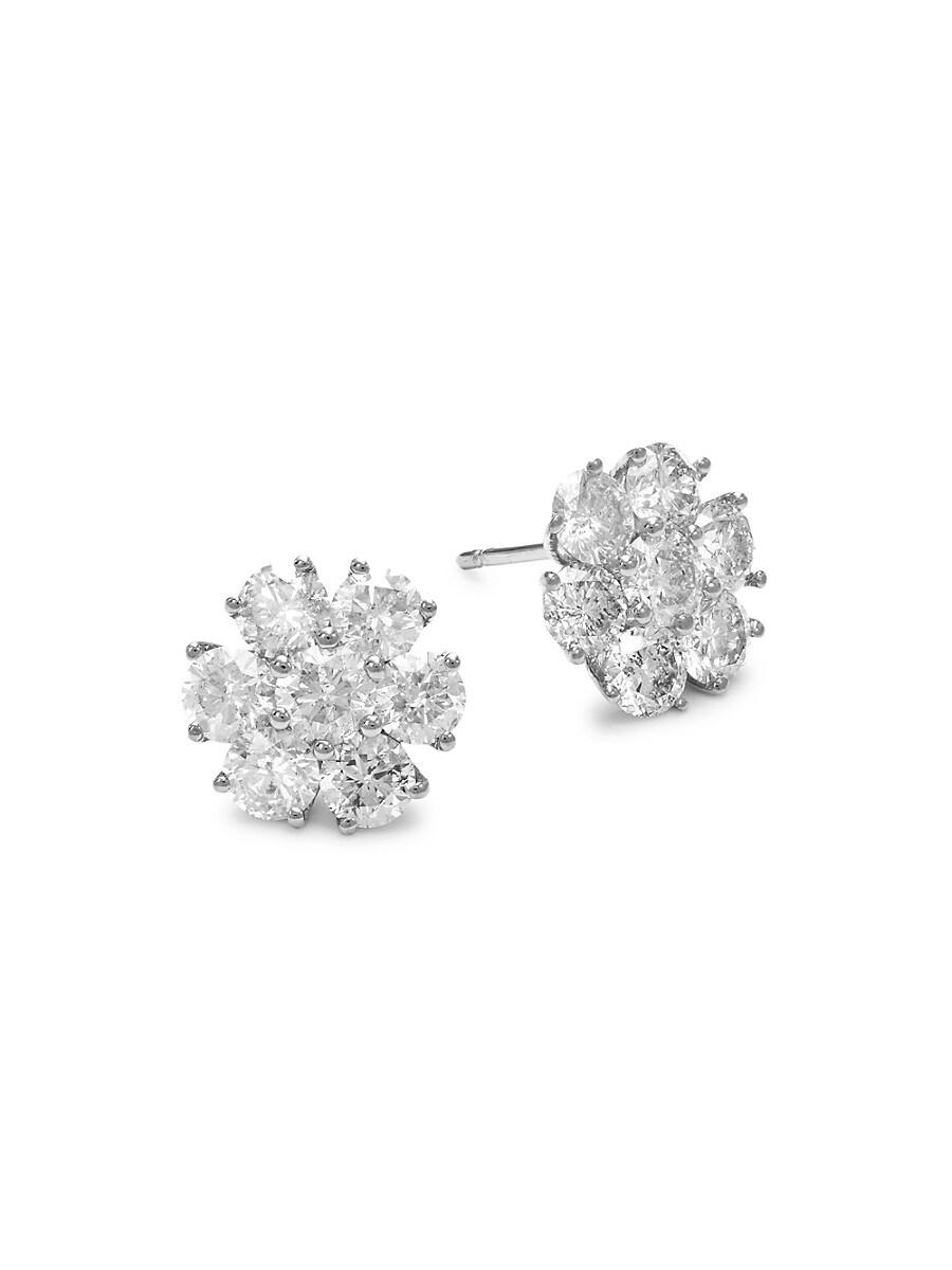 14K White Gold & 3.5 TCW Diamond Floral Stud Earrings