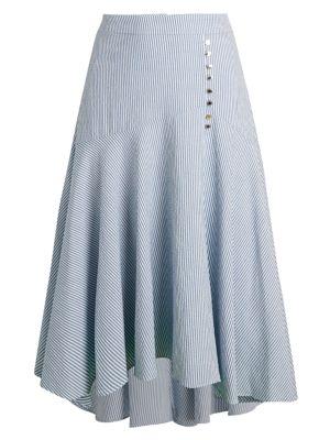 Calvin Klein Striped Asymmetrical High Low Skirt Saksoff5th Com