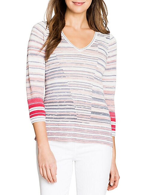 Nic + Zoe QUARTER-SLEEVE STRIPED TOP