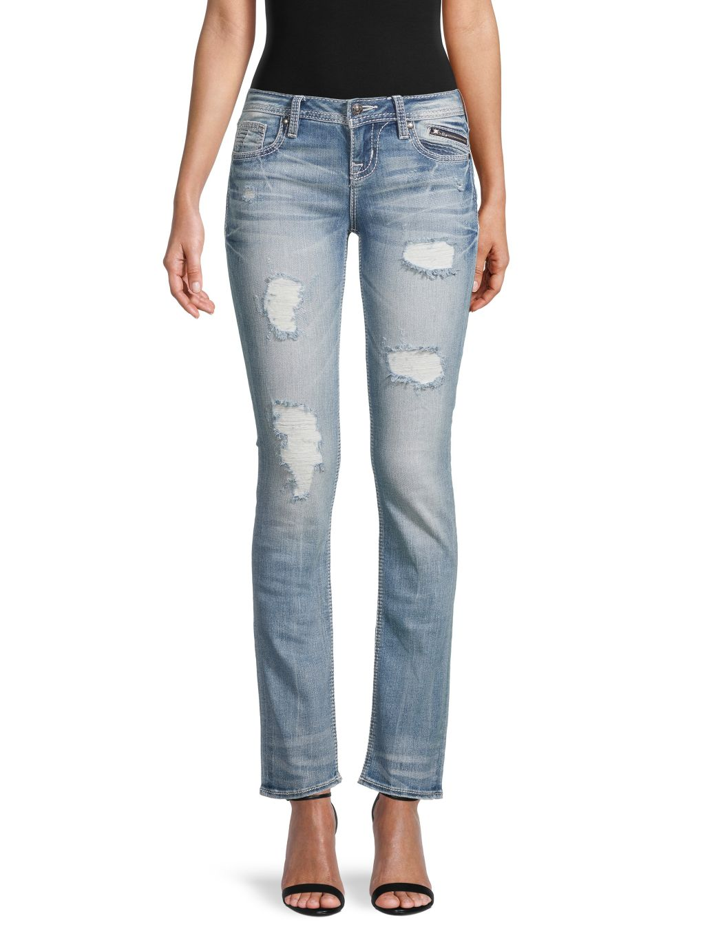 Miss Me Distressed Slim Straight Jeans