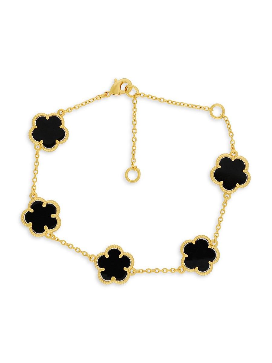 Women's 14K Goldplated Onyx Clover Bracelet