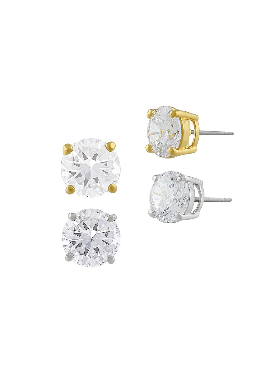 Women's 2-Pair 14K Goldplated & Cubic Zirconite Stud Earrings