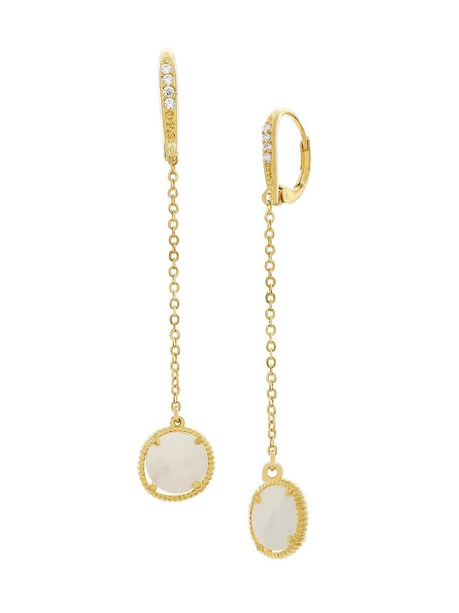Women's 14K Goldplated & Genuine Mother-Of-Pearl Drop Earrings