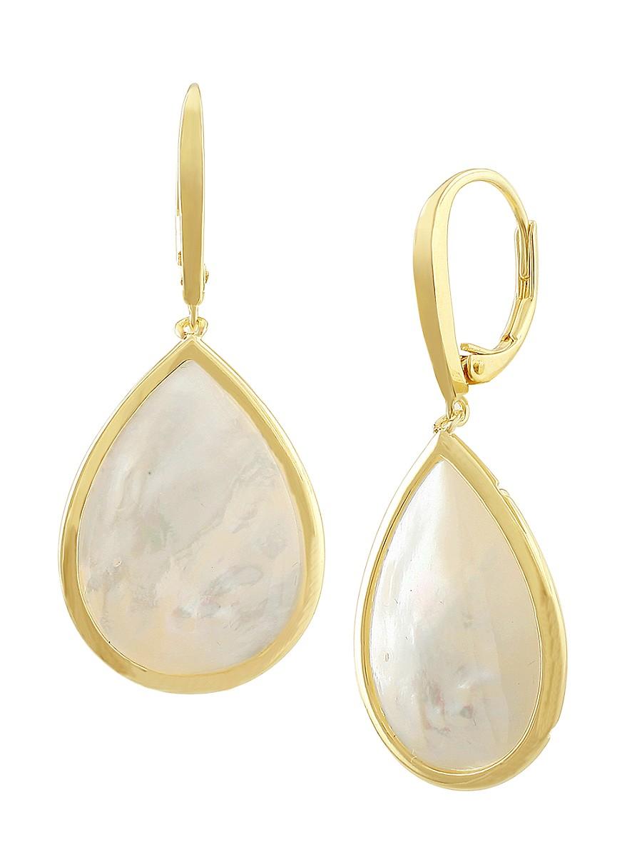 Women's 14K Goldplated & Genuine Mother Of Pearl Teardrop Earrings