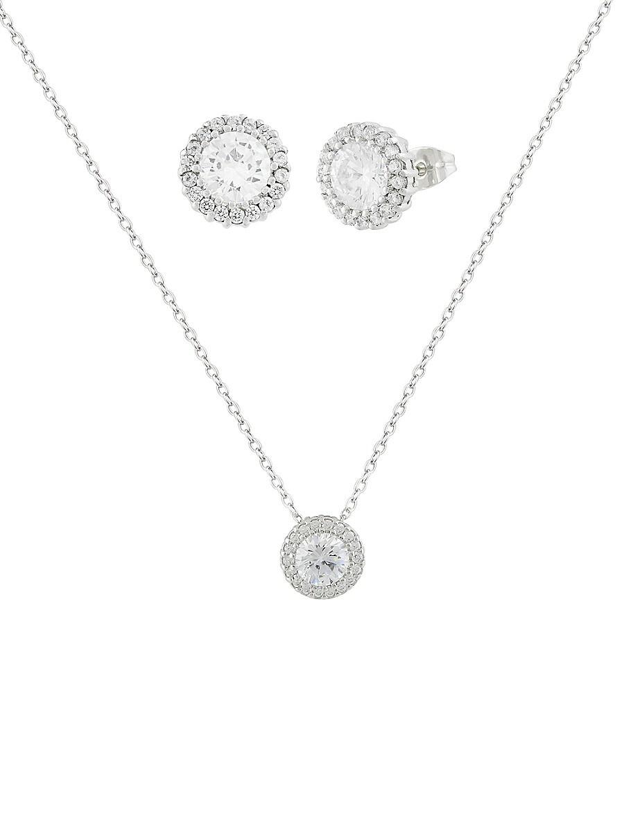 Women's 3-Piece Cubic Zirconite Necklace & Earrings Set