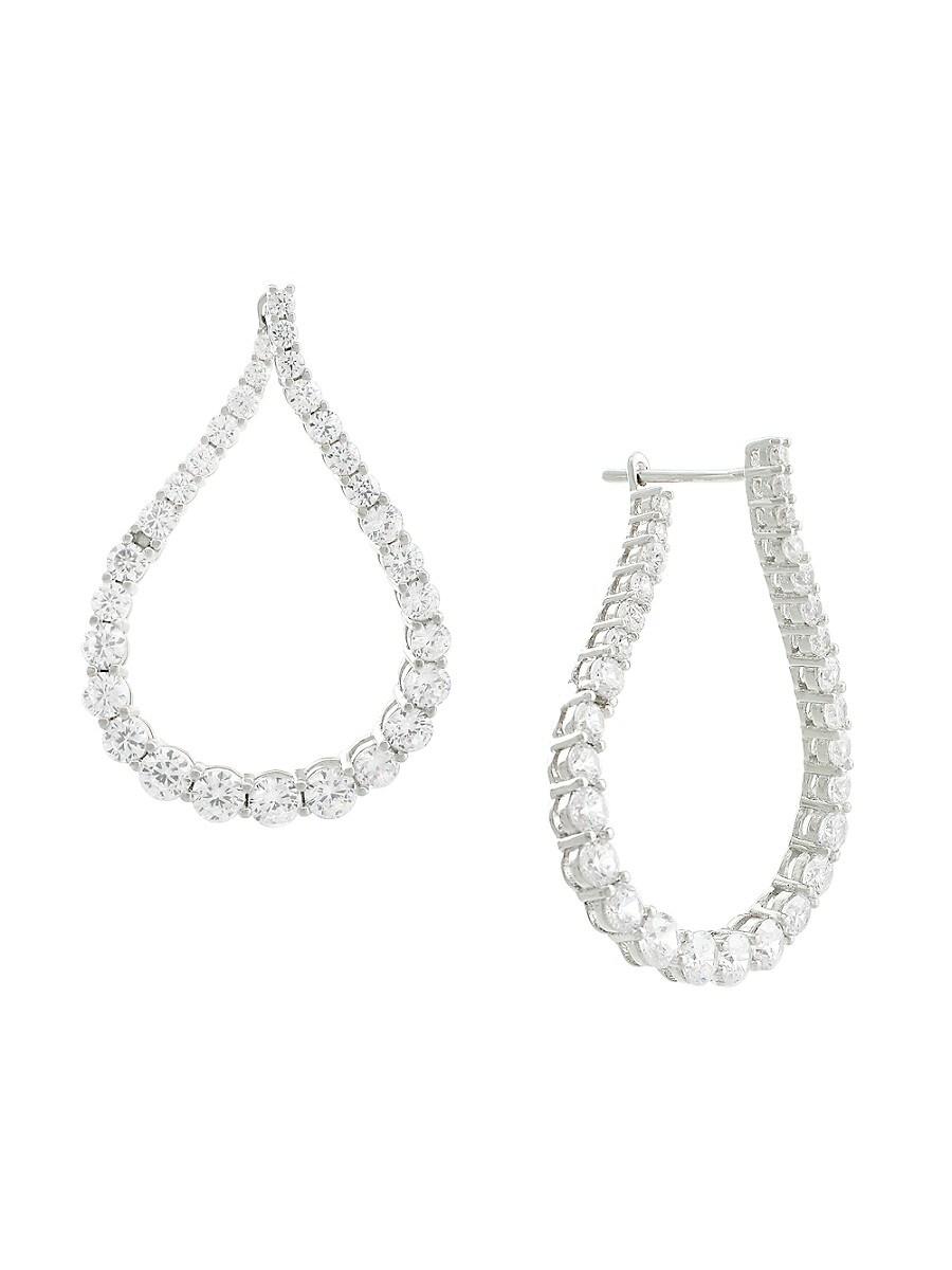 Women's Twist Cubic Zirconite Hoop Earrings