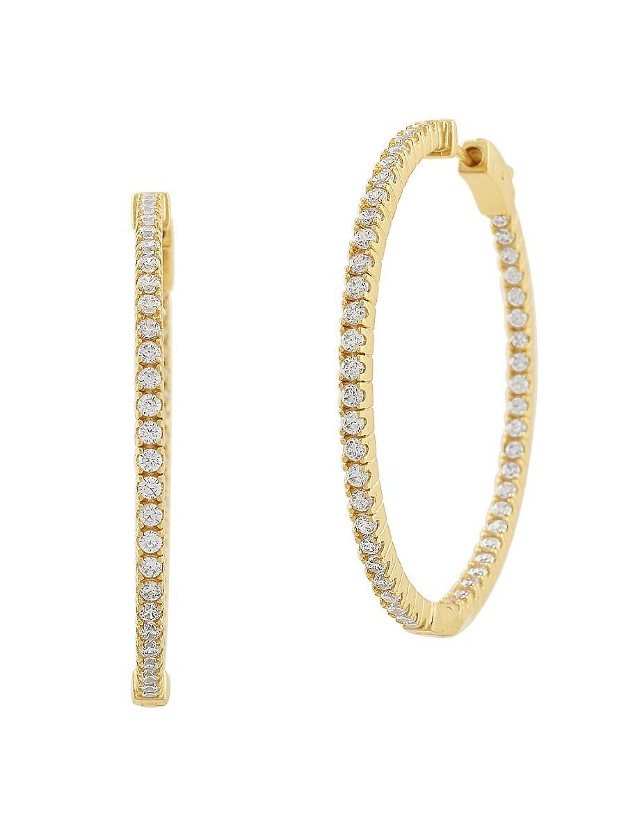 Women's 14K Goldplated & Cubic Zirconite Hoop Earrings