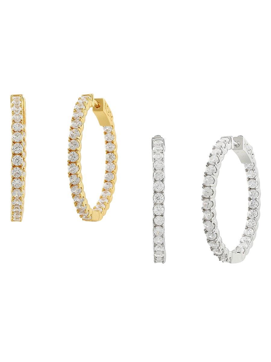 Women's CZ Hoop Collection 14K Goldplated 2-Piece Hoop Earrings Set