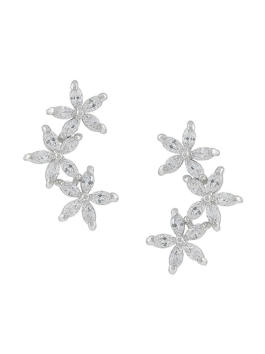 Women's Cubic Zirconite Flower Drop Earrings