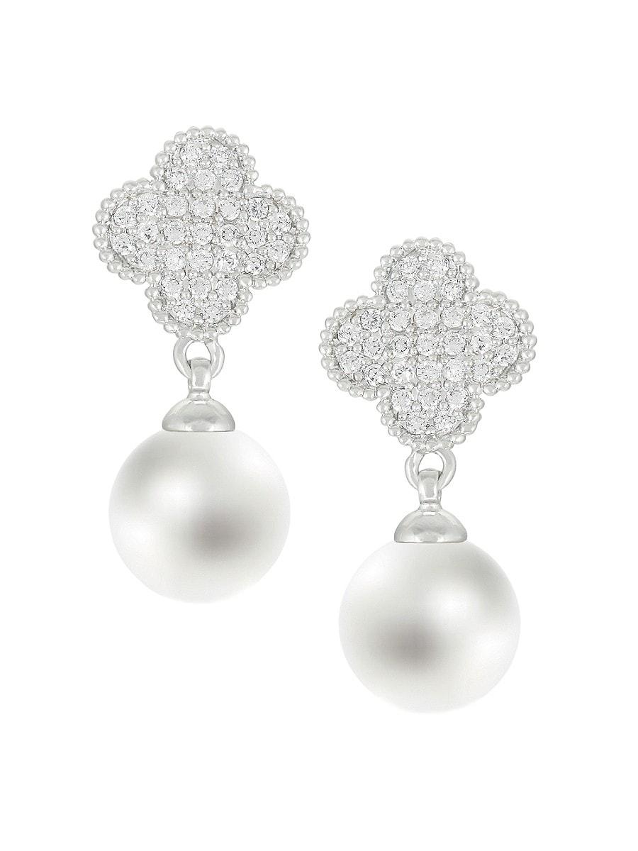 Women's Clover Cubic Zirconite & Faux Pearl Drop Earrings
