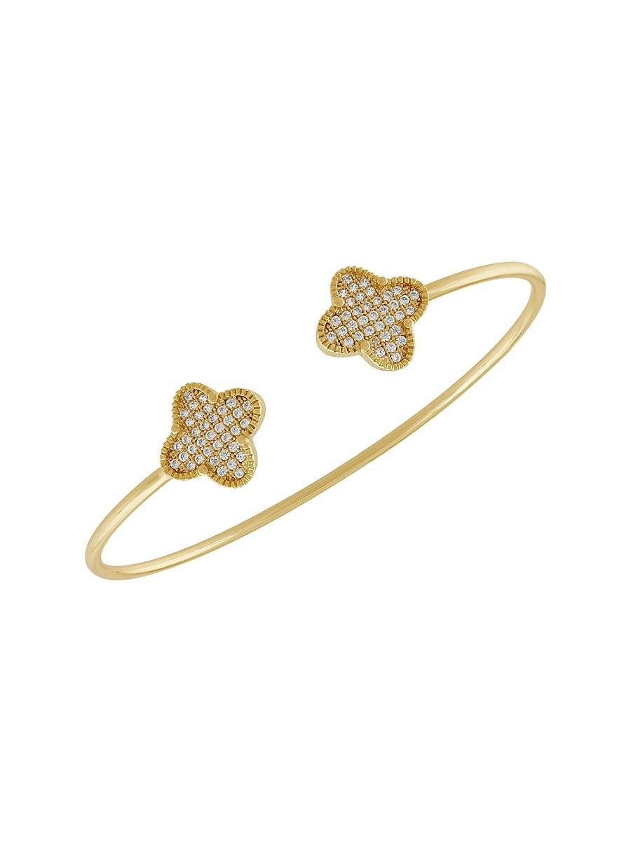 Women's 14K Goldplated & Cubic Zirconite Clover Bangle