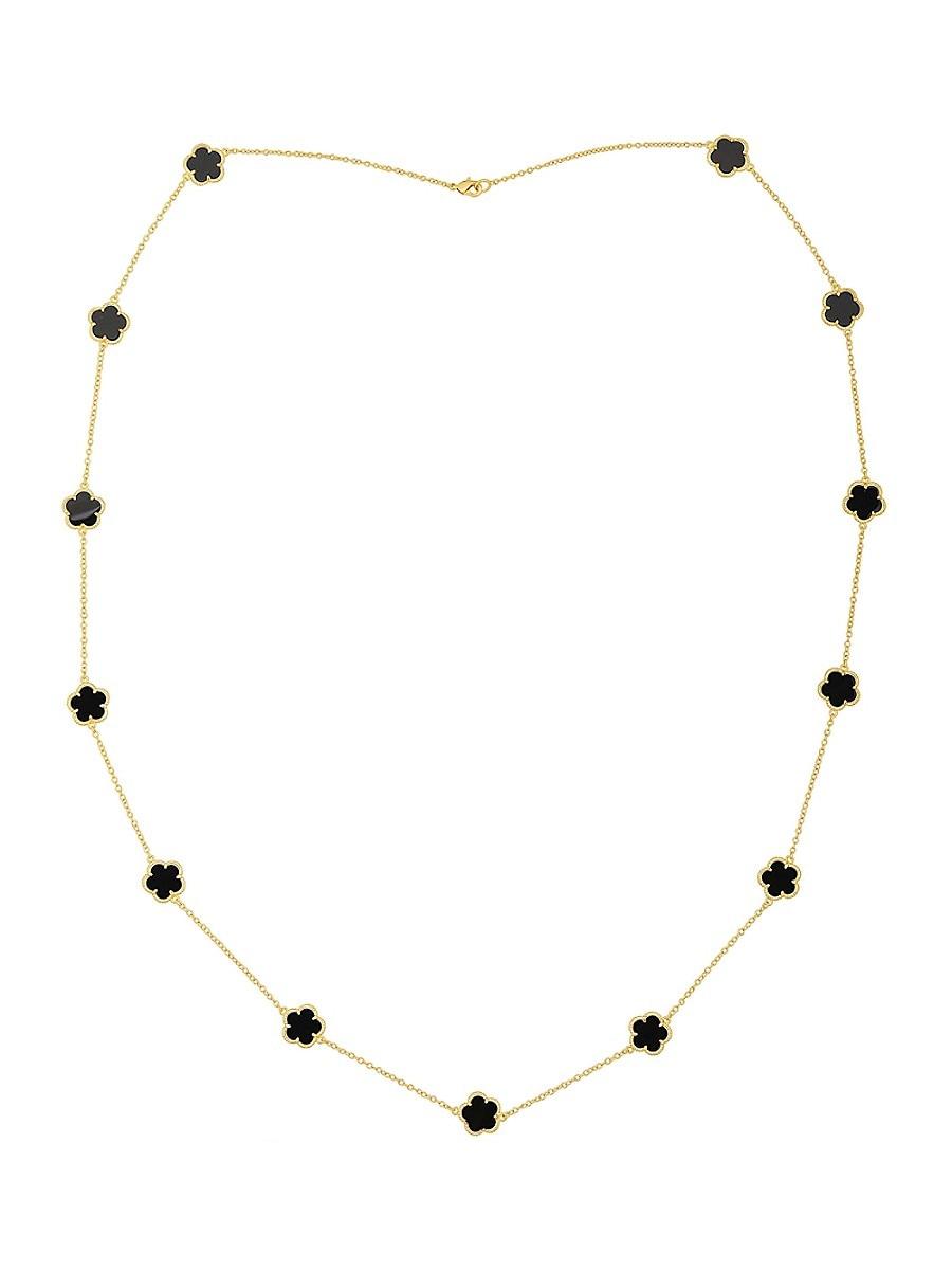 Women's 14K Goldplated Onyx Flower Necklace