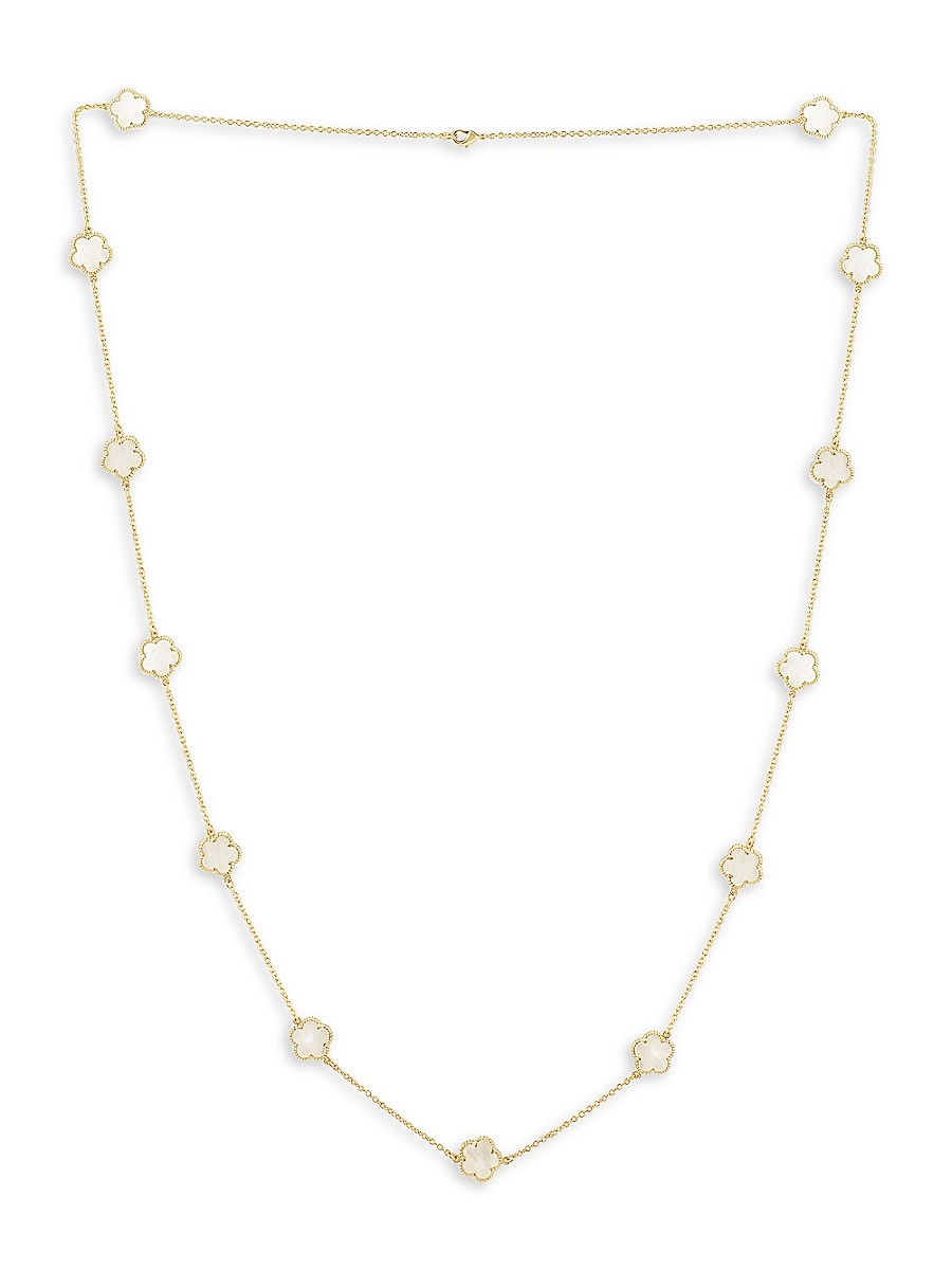 Women's Clover MOP Collection 14K Goldplated Mother-Of-Pearl Flower Necklace
