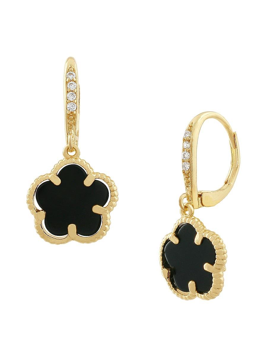 Women's 14K Goldplated & Onyx Clover Drop Earrings
