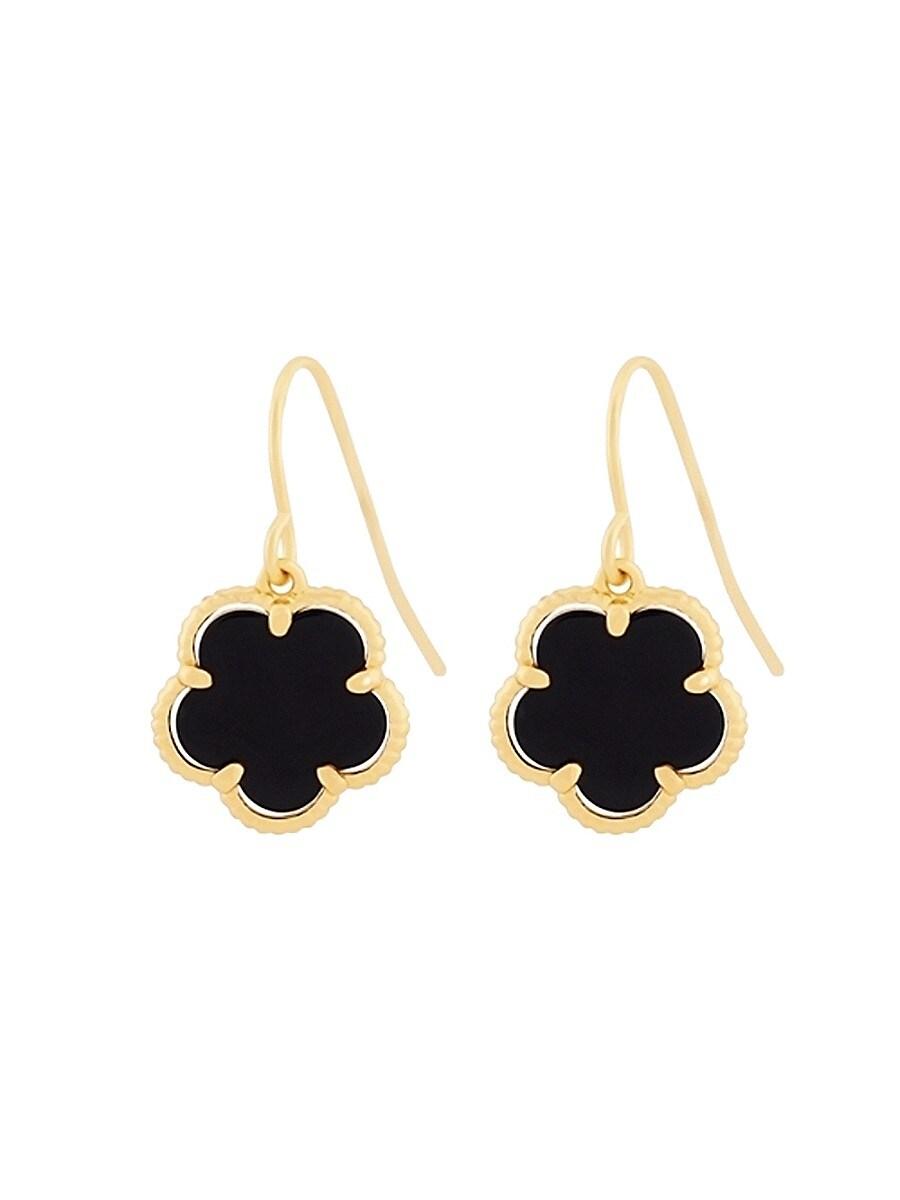 Women's Small 14K Goldplated & Onyx Flower Drop Earrings
