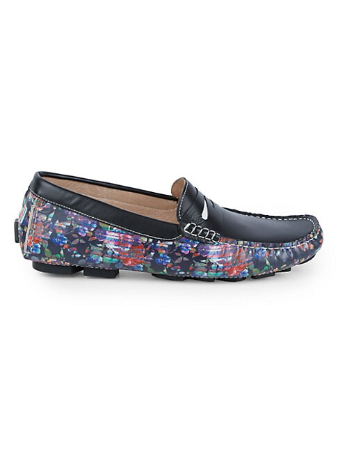Robert Graham ALBAN FLORAL LEATHER DRIVING LOAFERS