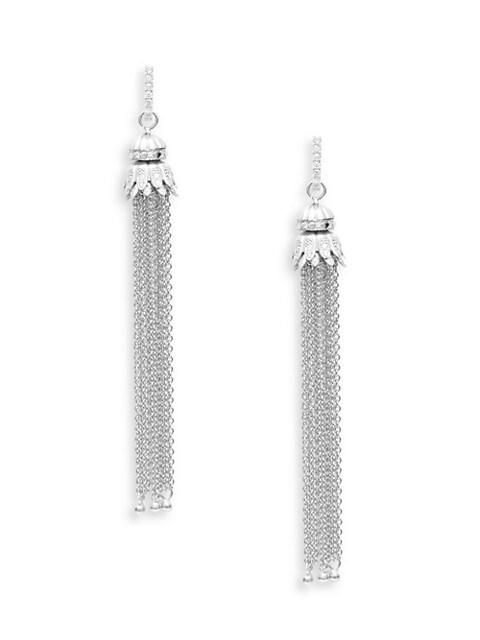 Sara Weinstock Petite Tassel 18K White Gold & Diamond Drop Earrings