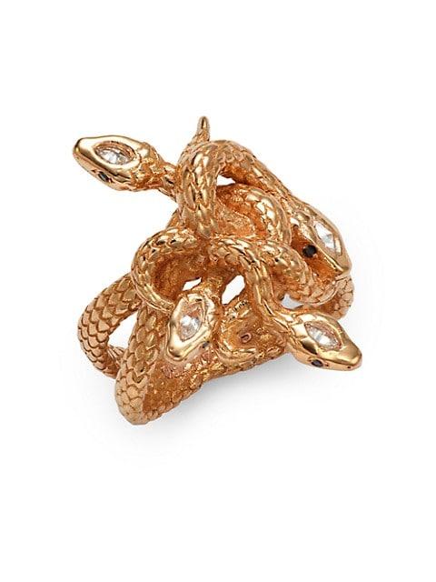 Sara Weinstock Serpent 18K Rose Gold, White Diamond & Black Diamond Snakepit Ring