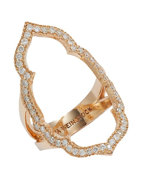 Sara Weinstock Taj 18K Rose Gold & Diamond Negative Space Ring