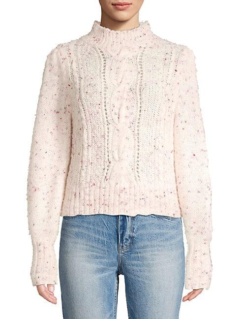 Rebecca Taylor Women's Tweed Cableknit Sweater In Snow Multi