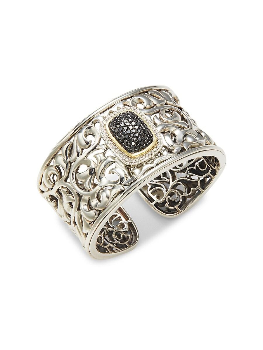Charles Krypell 14K White Gold, 18K Yellow Gold & Sterling Silver Black & White Diamond Hinge Cuff Bracelet - Grey