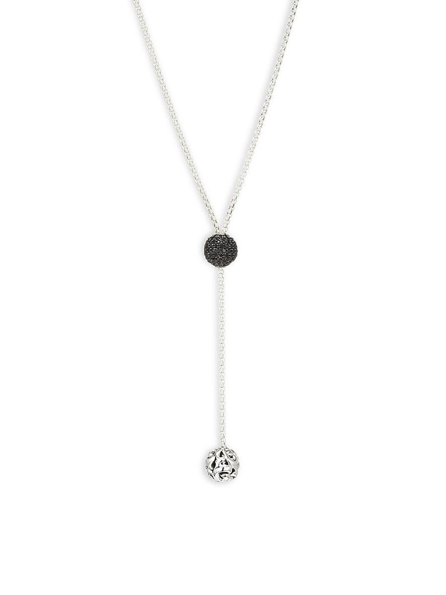 Women's Sterling Silver & Black Sapphire Y Necklace