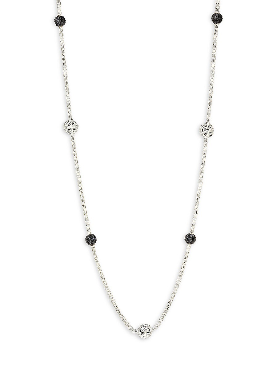 Sterling Silver & Black Sapphire Station Necklace