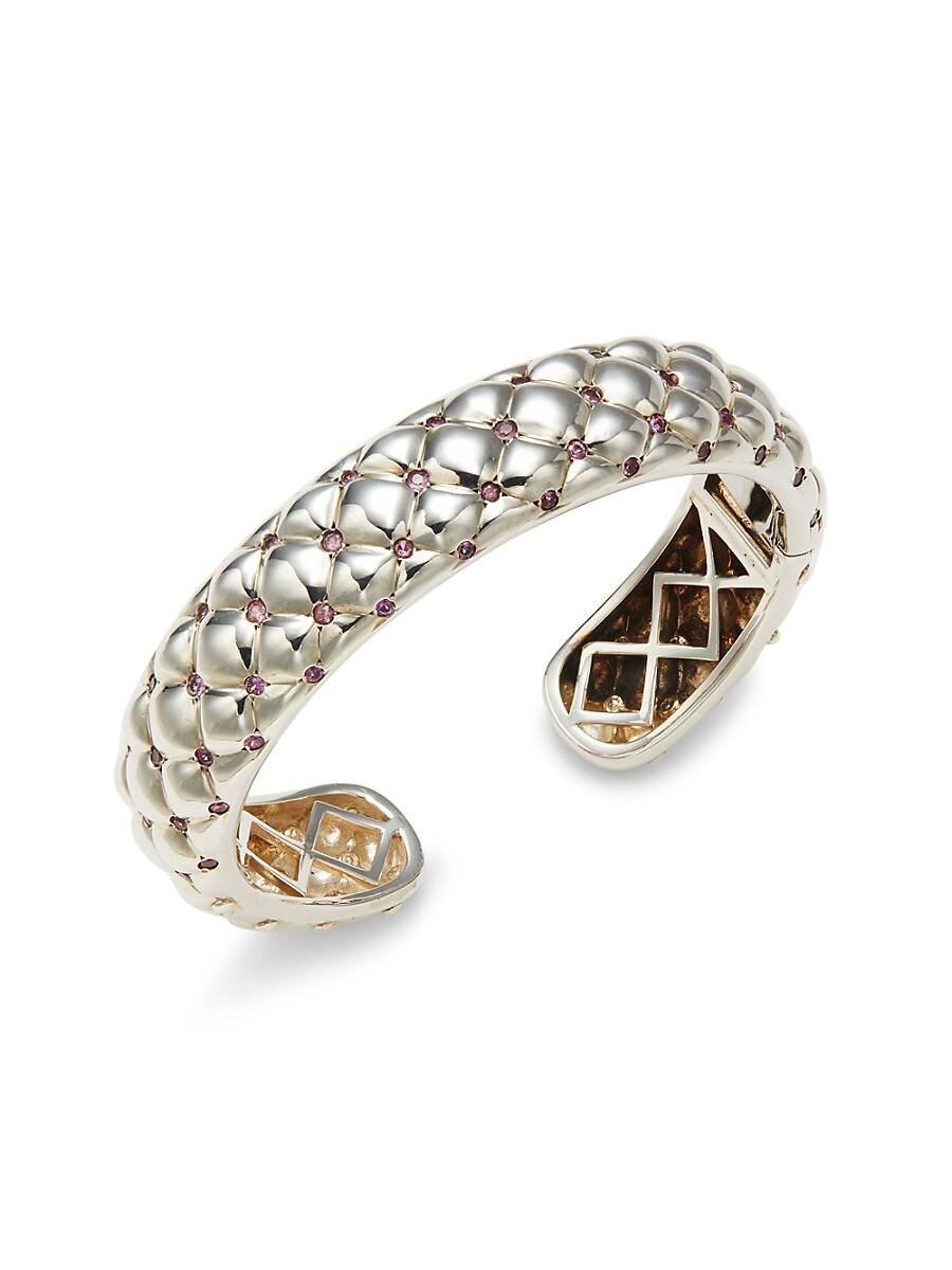 Charles Krypell Women's Sterling Silver, 14K White Gold & Pink Sapphire Bracelet