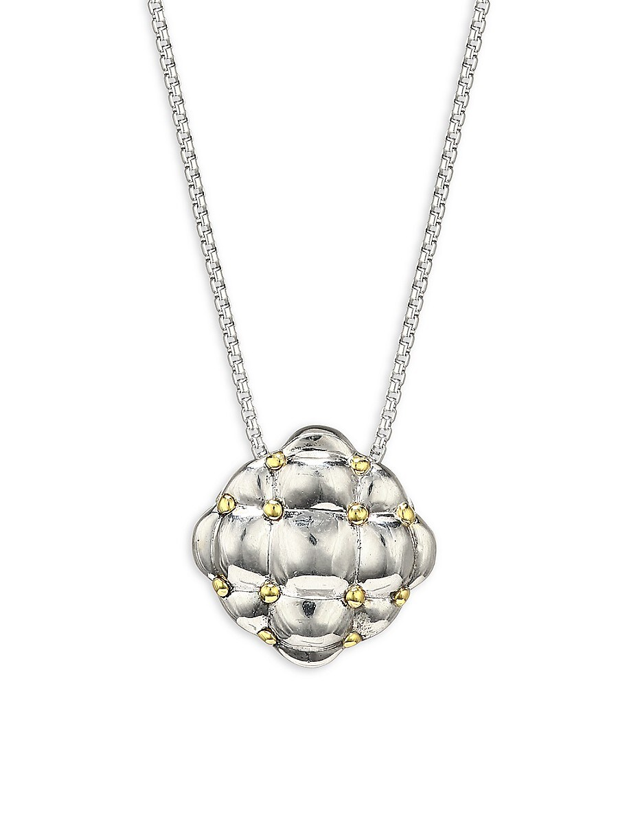 Sterling Silver & 18K Yellow Gold Embossed Pendant Necklace