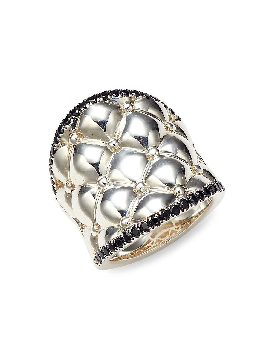 Women's Sterling Silver & Black Sapphire Tufted Ring/Size 6.5