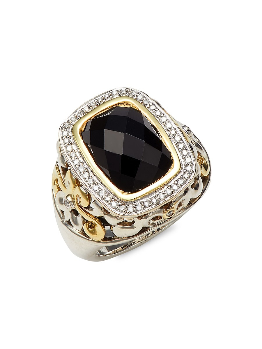 Women's 18K Yellow Gold & Sterling Silver Black Spinel & Diamond Statement Ring/Size 6.5